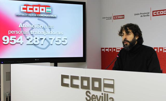 Foto de CCOO Sevilla. Carlos Aristu sobre ERTE por COVID19