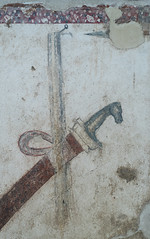 Painted tomb of Daziho Platorres, from Egnatia: detail of horsehead sword and spearpoint