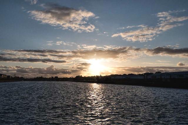Shining Sun over the Docks at Preston