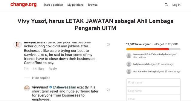 Netizen Lancar Petisyen Vivy Yusof Letak Jawatan Ahli Lembaga Pengarah UiTM