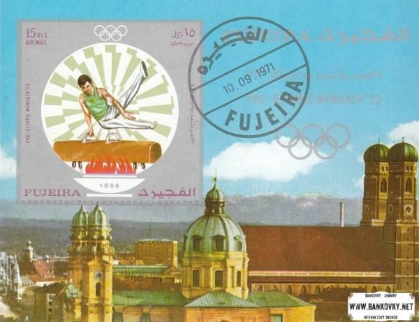 Známky Fujeira 1971 šport LOH Mníchov, razítkovaný hárček