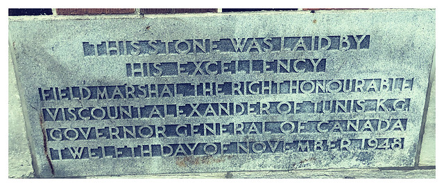 Cornerstone laid by Viscount Alexander of Tunis, Fisher Park High School, Ottawa, 1948