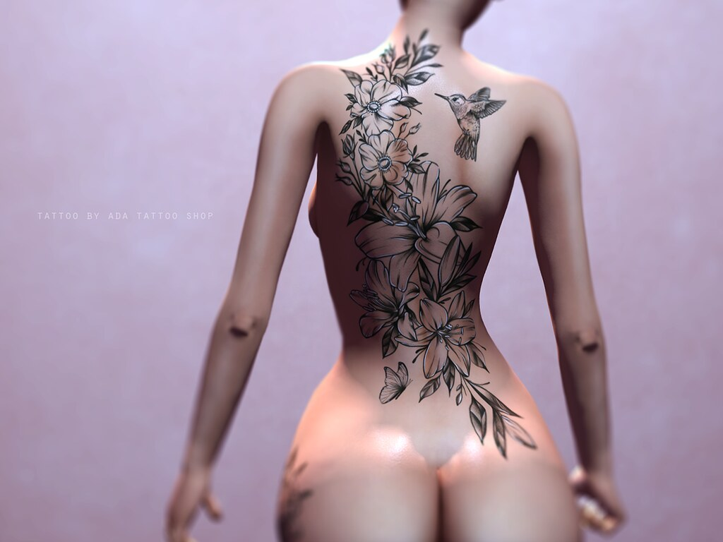 ADA Tattoo SHOP Floral Backpiece (BoM, OMEGA, MAITREYA)
