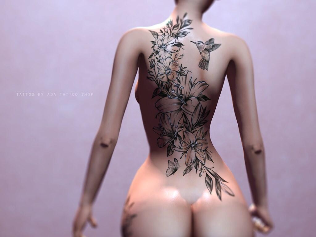 ADA Tattoo SHOP Floral Backpiece (BoM, OMEGA, MAITREYA)