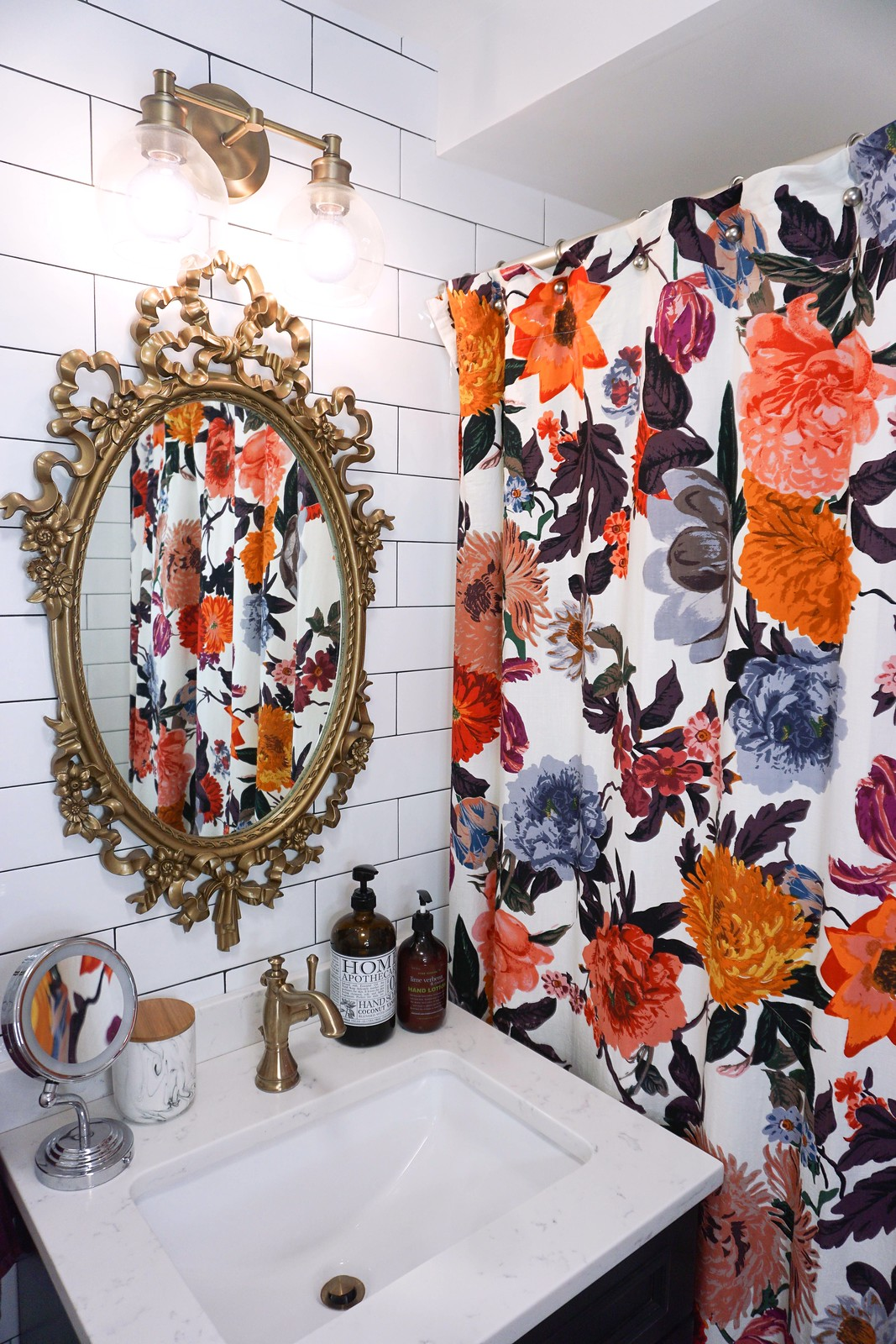 Eclectic Boho Colorful Small Bathroom | Gold Antique Mirror and Fixtures | Anthropologie Agneta Shower Curtain
