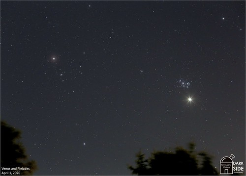 tomwildoner night sky space outerspace astronomy astrophotography science deepsky earthskyscience meadeinstruments universe venus planet pleiades m45 conjunction 2020 april