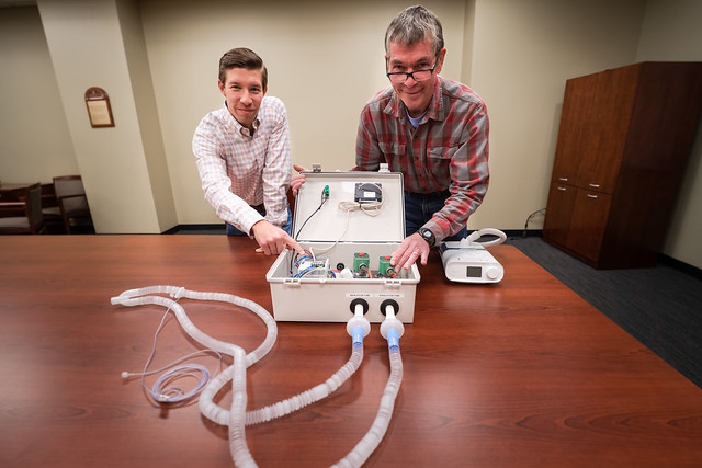 Michael Zabala and Tom Birch examine a new medical accessory.