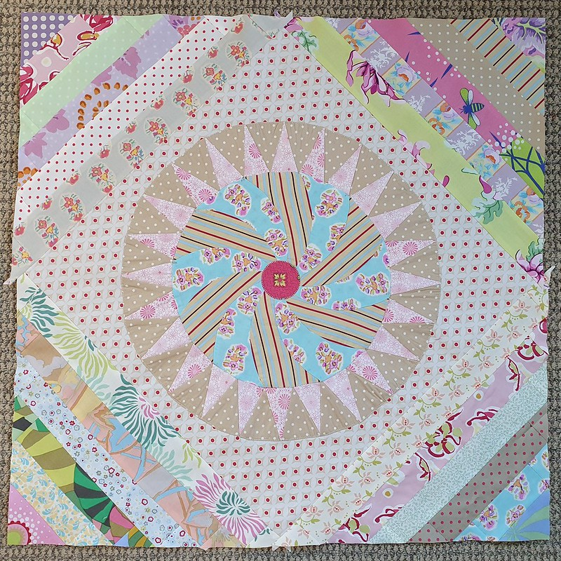 Sue Ross BOM 2009 Material Obsession quilt top