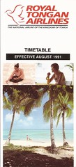 Royal Tongan Airlines system timetable - August 1991