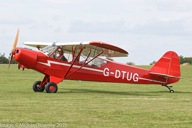 G-DTUG - 2011 build Wag-Aero Super Sport (Cuby), arriving on Runway 21L at Sywell during the 2019 LAA Rally