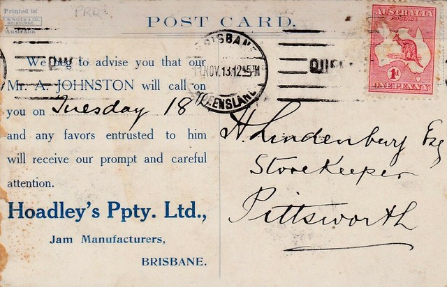 Advertising postcard for Hoadley's Pty. Ltd - 1913 - reverse