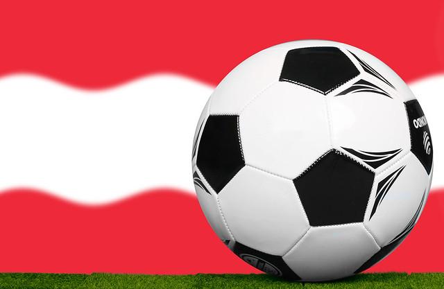 Soccer football ball with flag of Austria