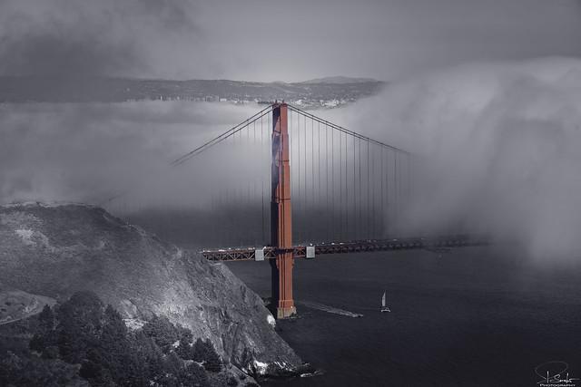 Special view Golden Gate Bridge - San Francisco - California - USA