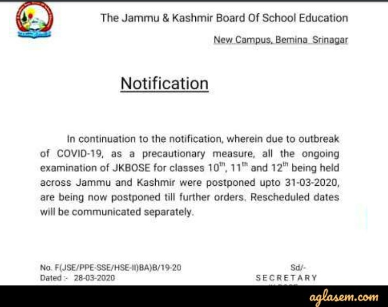 Kammu and Kashmir Board Exams postponed