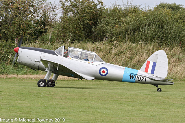 G-ATHD - 1953 build De-Havilland DHC-1 Chipmunk 22, taxiing for departure from Sywell during the 2019 LAA Rally