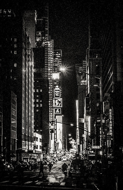 Night view towards Times Square