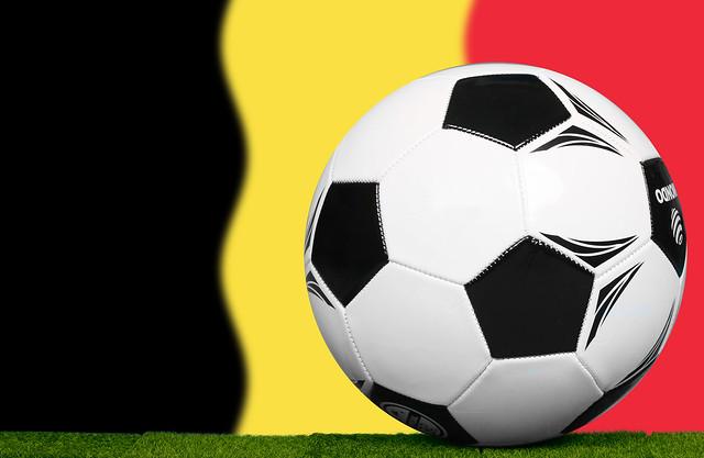 Soccer football ball with flag of Belgium