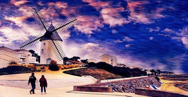 Jard-sur-Mer (Vendée, Pays de la Loire, Fr) -  Le moulin de la Conchette
