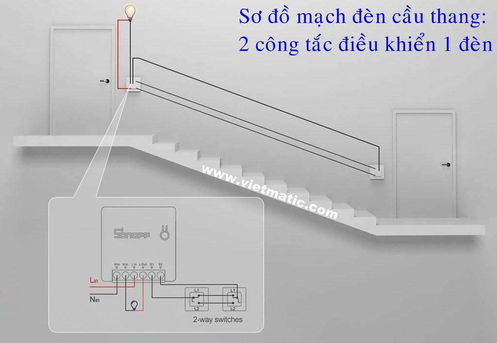 Sơ đồ mạch đèn cầu thang Wifi thông minh đơn giản