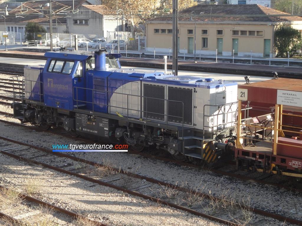 Une locomotive Diesel G1000BB Vossloh de l'entreprise Ferrotract en gare d'Aubagne-en-Provence