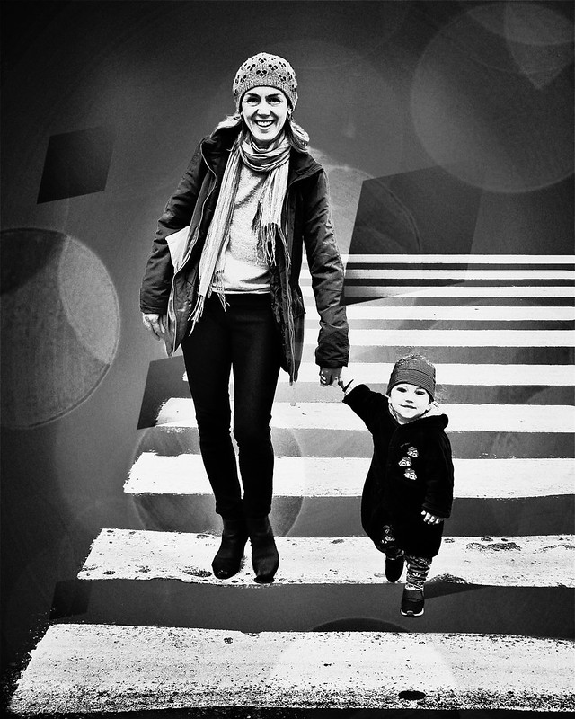 ▻mom & son/zebra cross◅ [bnw]