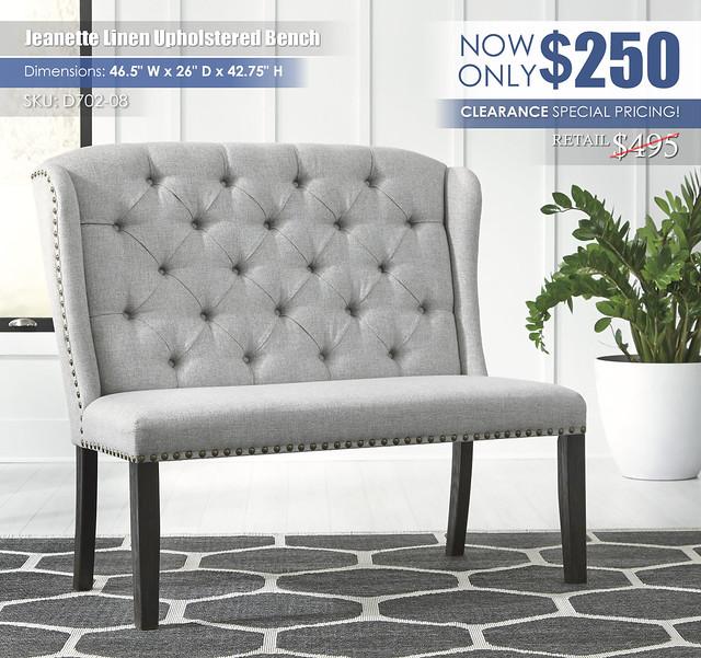 Jeanette Linen Upholstered Bench_D702-08