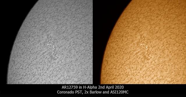 Sunspot AR12759 in H-alpha 02/04/20