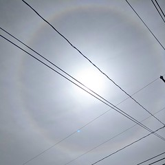 Tangents and chords across a sun halo