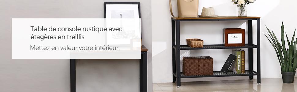 noir//bois naturel BTM Table console r/étro industrielle avec /étag/ère r/églable en maille pour maison