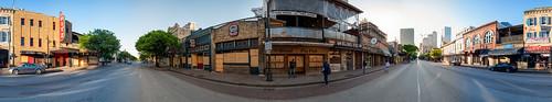 austin panorama texas unitedstates 6thstreet sixthstreet downtown tx usa pano street pandemic blindpig blindpigpub maggiemaes alamodrafthouse alamodrafthouseritz ritz tree skyline plywood closed shuttered