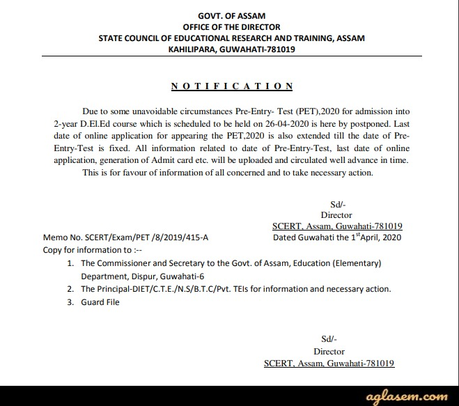 SCERT Assam D.El.Ed PET 2020 - Application Form (Extended), Admission in D.El.Ed Course, Exam (Postponed)