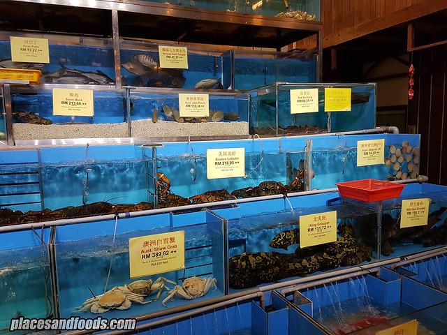 pantai seafood restaurant fish tanks
