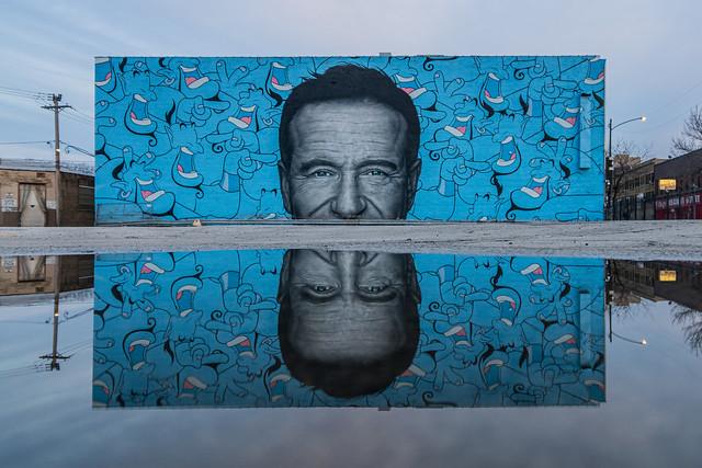 Robin Williams / Disney's Aladdin Genie tribute mural by Jerkface (@incarceratedjerkfaces) & Owen Dippie at Concord Music Hall
