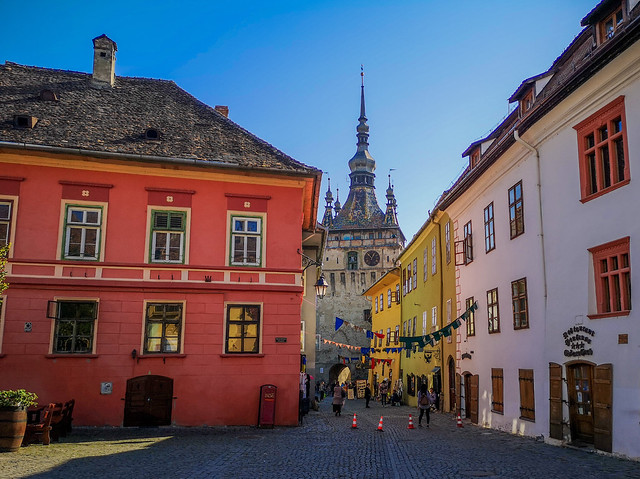 A sidestreet shot in Sighisoara, Romania.