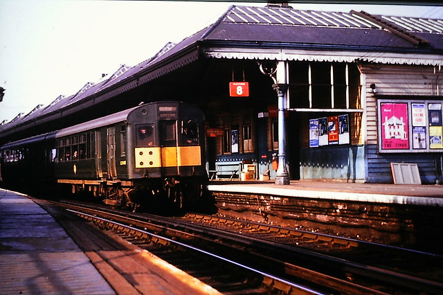 Ex-LNER EMU, heading for Tynemouth and back to Central Station, led by E29118E at Manors in April 1965