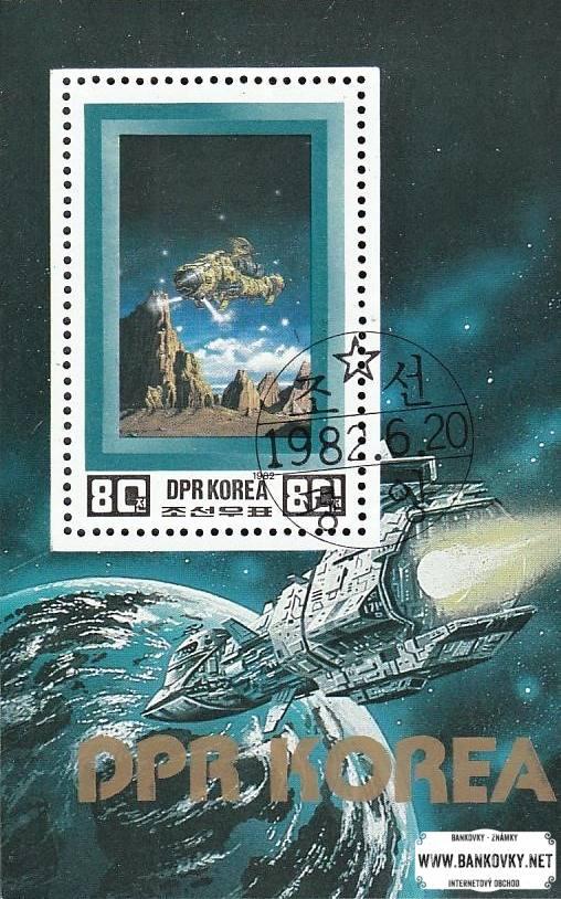 Známky Severná Kórea 1982 Budúcnosť vesmíru razítkovaný hárček