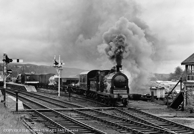 CR No 828 (LMS 3F) departs with a Freight from Boat of Garten on 18th June 1994