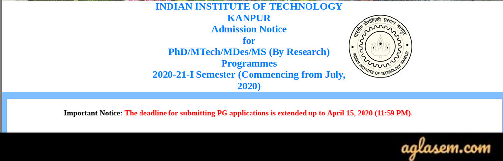 IIT Kanpur M.Tech Admission 2020 Application Form Last Date Extended