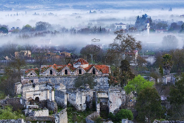 Ruins of Panagia Pirgiotissa Church in the morning mist, Fethiye, Mugla, Turkey....Canon EF100-400mm f/4.5-5.6L IS II USM