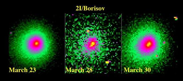 VCSE - A 2I/Borisov üstökös magjának széteesése. Nézzük meg a hamisszínes felvételen, ahogy a legbelső, sárgásra festett mag megnyúlik a HST képein. - HST, NASA, ESA