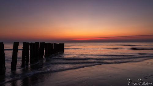 Breakwater after sunset