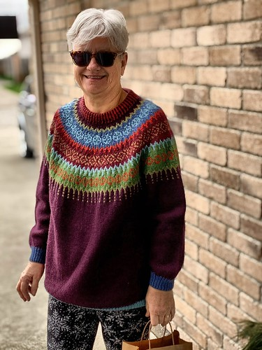 Angela came to pick up a yarn order curb side and I had to snap a photo of her Marrakech Bazaar sweater by Charlotte Monckton (modified)