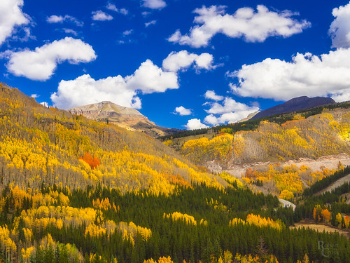 1250mmf3563mzuiko co colorado em5 milliondollarhighway mountainwest omd olympus rockies rockymountains sanjuanmountains sanjuanskyway aspens autumn bluesky car clouds fall foliage forest highway landscape leaves mirrorless road trees