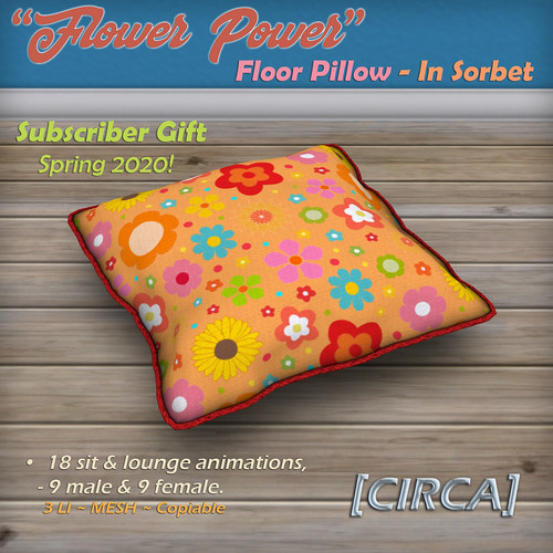 "Subscriber Gift @ Mainstore | [CIRCA] - ""Flower Power"" Floor Pillow in Grey - Subscriber GIFT '20"