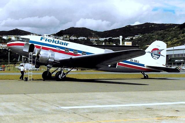 ZK-BBJ   Douglas DC-3C-47B-45-DK [16962/34222] (Fieldair Freight) Wellington Int'l~ZK (Date unknown) @ 1988