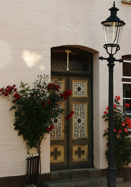 Beautiful roses and beautiful door in Friedrichstadt - Schleswig - Germany