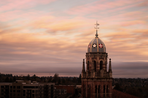 ralphadamscram romanesque church clouds firstpresbyterian orion sky stadium stadiumdistrict steeple sunrise tacoma troymasonphotography washington unitedstatesofamerica christianity