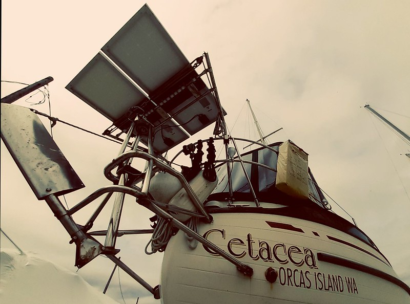 220 watts and Flipper, the Monitor windvane, aboard S/V S.N Cetacea...