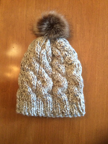 Ann knit this quick knit hat - Gimme All the Cables Toque by Andrea Kemper