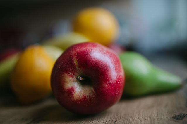 Fresh red apple closeup.